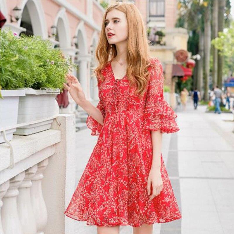 Nouvelle robe en mousseline de soie élégante 2018 V col slim imprimé robe rouge femmes bandage robe à manches papillon doux décontracté robe de fête