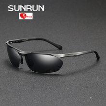 SUNRUN Brand Designer Polarized Sunglasses Men Aluminum Magnesium Semi-Rimless Sun Glasses Fashion Driving Goggles 8546