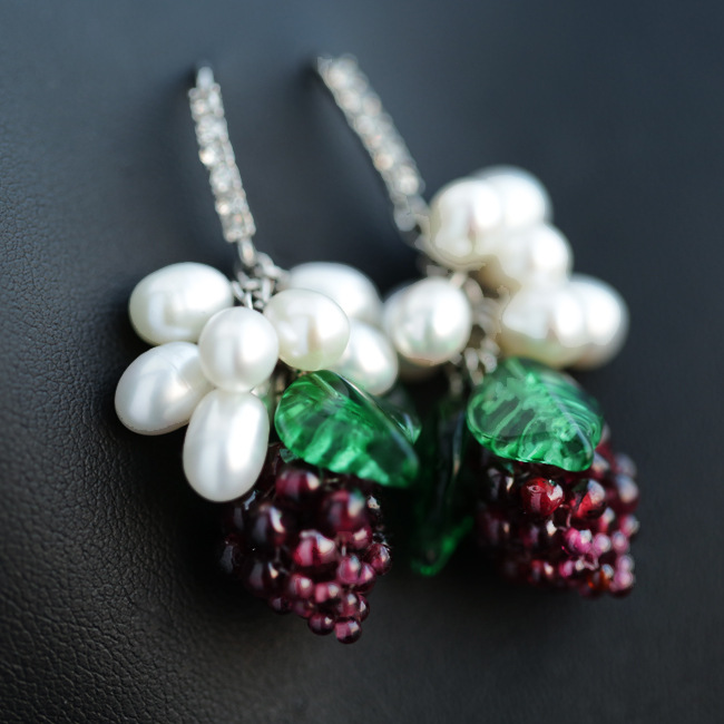 Natural Freshwater pearl Garnet purple grapes 925 Sterling silver hook Drop Earring handmade Jewelry Birthstone cute Gift