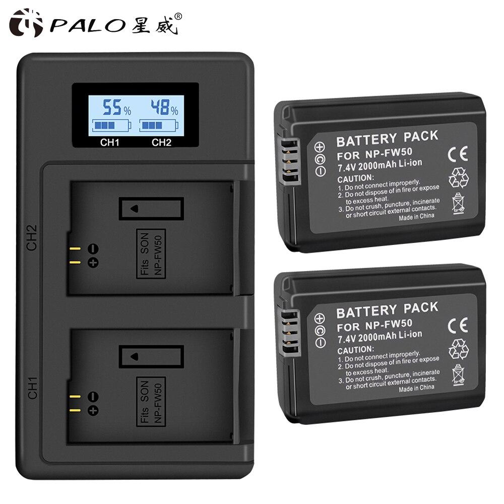 PALO 2 piezas 2000 mAh NP-FW50 NP FW50 batería Cámara + LCD cargador Dual USB para Sony Alpha a6500 a6300 a6000 a5000 a3000 NEX-3 a7R