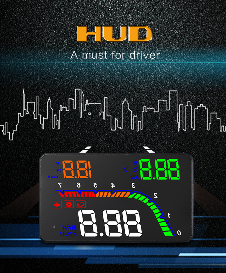 T100 HUD Head Up Display Multi Color Car Speedometer Digital Reflective Projector