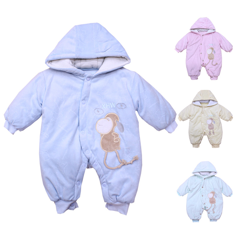 Warm Boys Girls Rompers Winter Thick Clothes Cartoon Cotton Jumpsuit Long Sleeve Coverall Winth Hood Long Sleeve Baby Costume baby clothing infant baby kid cotton cartoon long sleeve winter rompers boys girls animal coverall jumpsuits baby wear clothes