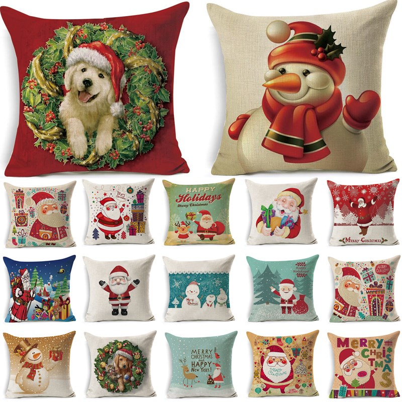 1Pcs 43*43cm Christmas Santa Claus Dog Pattern Cotton Linen Throw Pillow Cushion Cover Car Home Sofa Decorative Pillowcase 40511