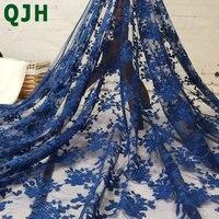 Nowy Przyjeżdża Francuski Koronki Tkaniny Kwiat Haft Sieci Nigerii Afryki Tulle Niebieski Czarny Biały Koronki Tkaniny Mody koronki Fabri