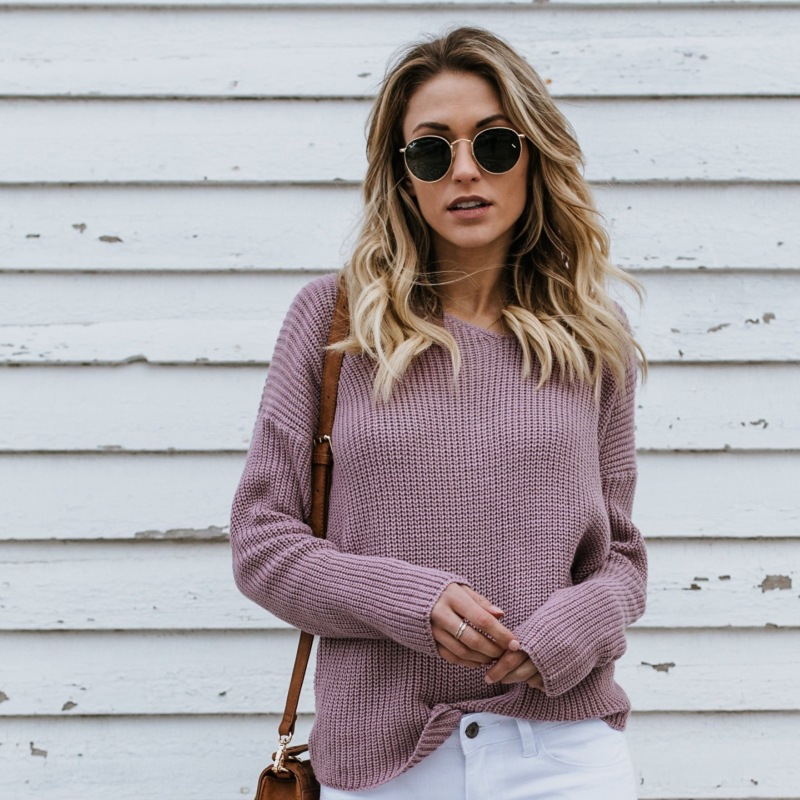 Women's sweater 2019 spring and autumn new solid color sweater round neck pullover backless women's sweater