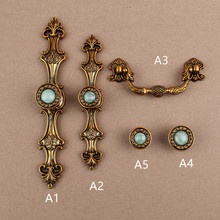 96mm 128mm Europen vintage style furniture handle bronze drawer cabinet knob artificial stones dresser handle 5″ emerald handle