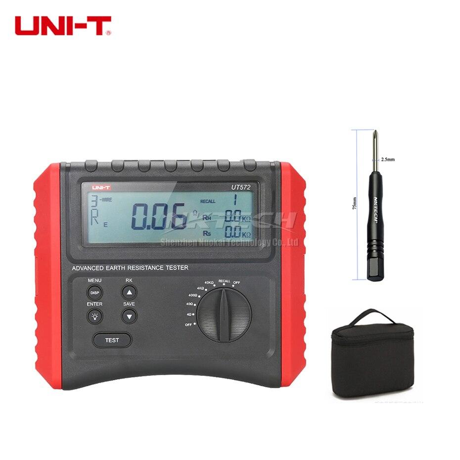 UNI-T UT572 testeur de résistance à la terre avancée résistivité du sol 2/3/4 fils Test terre résistance au sol compteur perturbation Volt Freq
