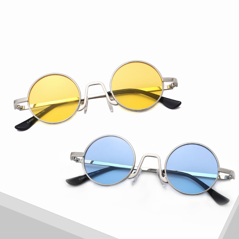 Xinfeite Sunglasses New Retro Small Metal Round Frame Color Coating Travel Summer Sun Glasses For Men Women X543