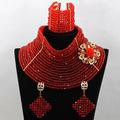 Fabulous 18 Layers Red Wedding African Beads Jewelry Set Big Choker Necklace Crystal Women Jewelry Set Free Shipping WA535