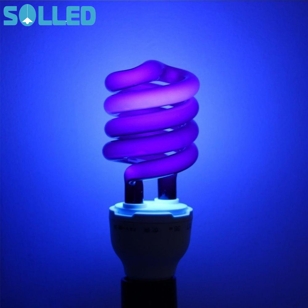 SOLLED Spiral Energy Saving Black Light with Screw-socket UV Lamp Aquatic Products Poultry Crop Breeding Halloween Decoration e27 15w trap lamp uv spiral energy saving lamps purple white