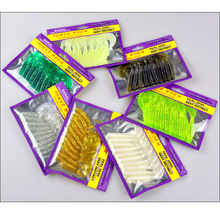 Fish Bite Soft Bait Worm Lures Curly Tail 7cm For Freshwater Saltwater Catch Grub 10 Pieces Bag