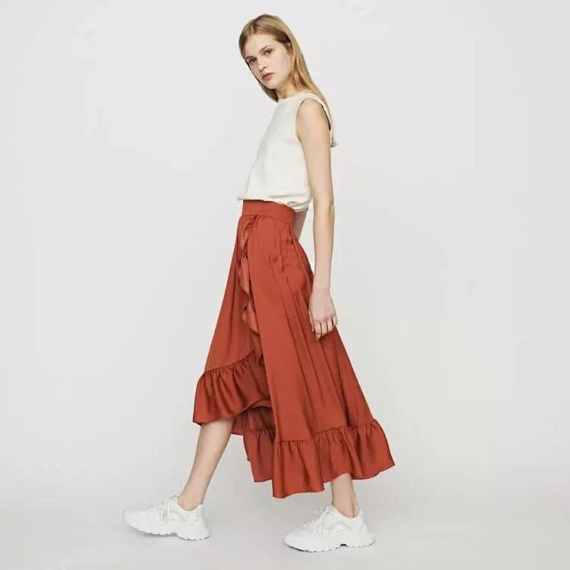 2019 New Women Ruffle Irregular Midi Skirt