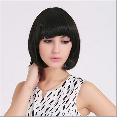 Heat Resistant Synthetic Bobo Black Short Straight Hair Wigs for Women Lady Wigs Free Shipping afro curly wigs for black women synthetic hair wig heat resistant cheap kinky curly wigs for women new arrival