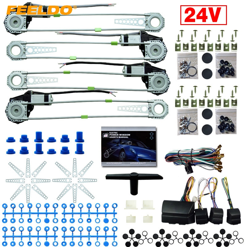 MOTOBOTS Car/Truck DC24V Universal 4 Doors Electronice Power Window Kits With 8pcs Swithces & Harness #FD2978