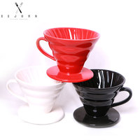 XEJONR Coffee Filter Cups Ceramics Handle Coffeeware 3 Colors Permanent Coffee Dripper for Coffee Marker Geometric Pour Over