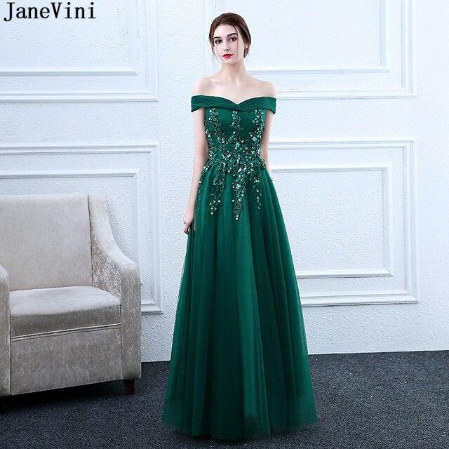 JaneVini Elegant Dark Green A Line Long Bridesmaid Dresses Boat Neck  Appliques Beaded Floor Length Tulle Women Formal Prom Gowns d33d4e0e47e7