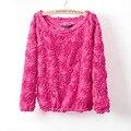 2017 Горячие продажа марка пуловер женщины 3D цветы свитер трехмерные розы запястье рукав пуловер свитер женщин бесплатная доставка