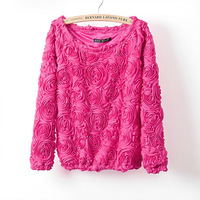 2014 New Fashion Hot Sale Brand Pullover Women 3D Flowers Sweater Three Dimensional Roses Pullover Sweater