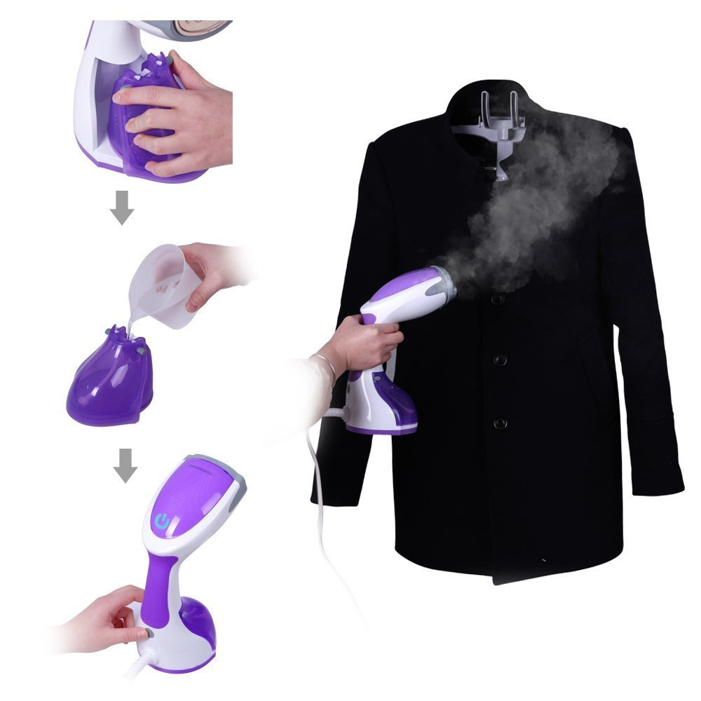Handheld Portable Fabric Garment Steamer Clothing Fast Heat Up Home Travel Mini Steam Iron With 260ml Water Tank 2 Brushes