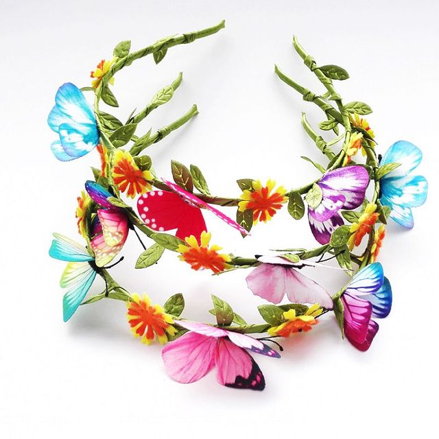 Girls' Cute Headband with Flowers and Butterflies