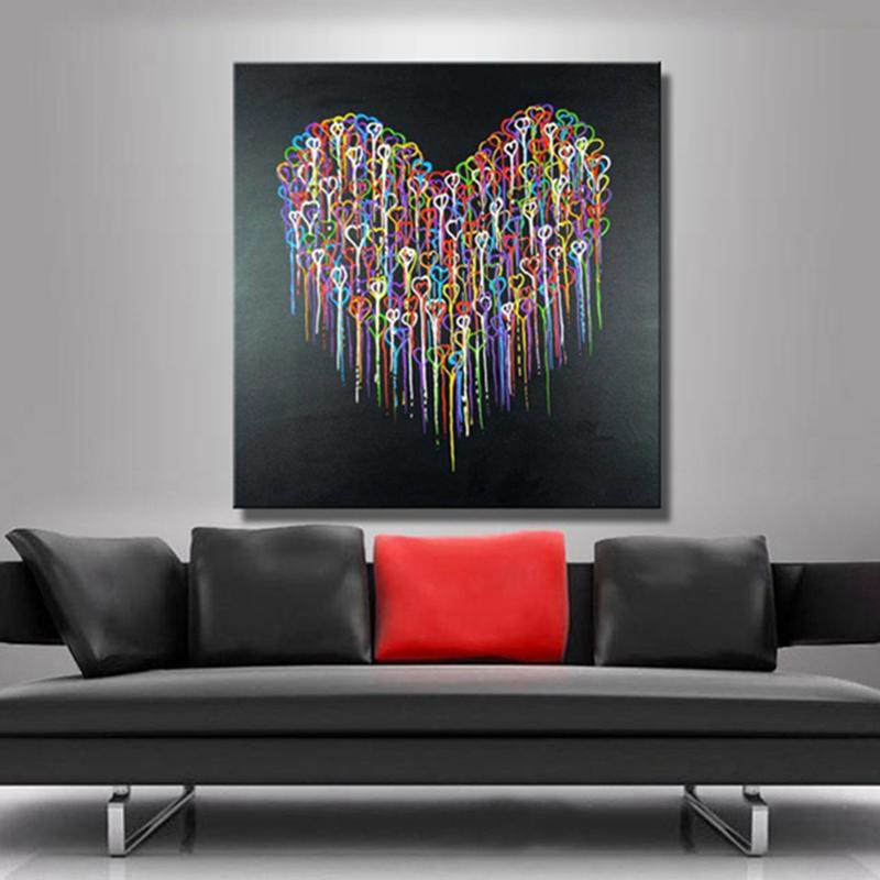 Colorful Abstract Heart Oil Paintings Hand Painted Canvas Paintings