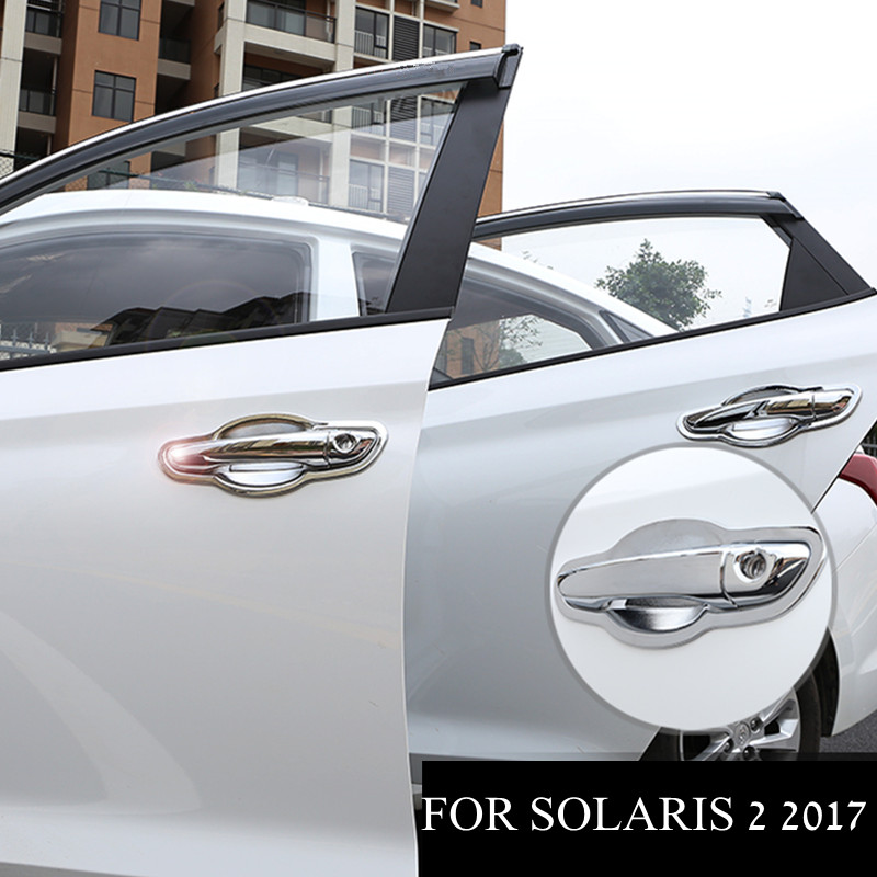 For Hyundai Solaris 2 2017 Door Handle Cover Chromium Styling Door Bowl Pull Chrome Car-styling Exterior for Solaris 2 farcar s170 hyundai solaris 2017 l766