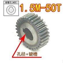 1.5 м-50 зубья 2ppcs стали цилиндрический редуктор электродвигателей коробка передач с слоте ключей-отверстие d: 10 мм канавки: 3 мм