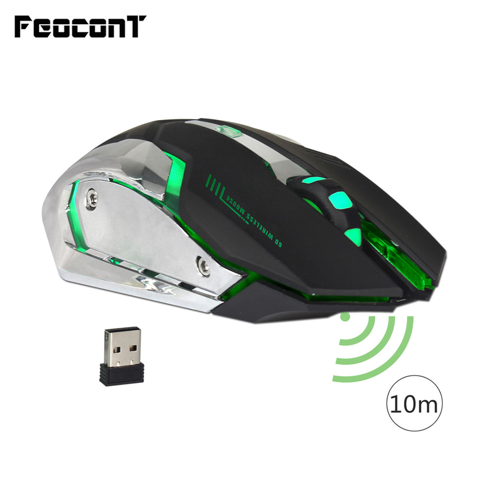 Wireless Mouse 2.4G Rechargeable Mouse 2400 DPI With USB Receiver Gaming Computer Mice 7 Colors Breathing Light For Notebook PC