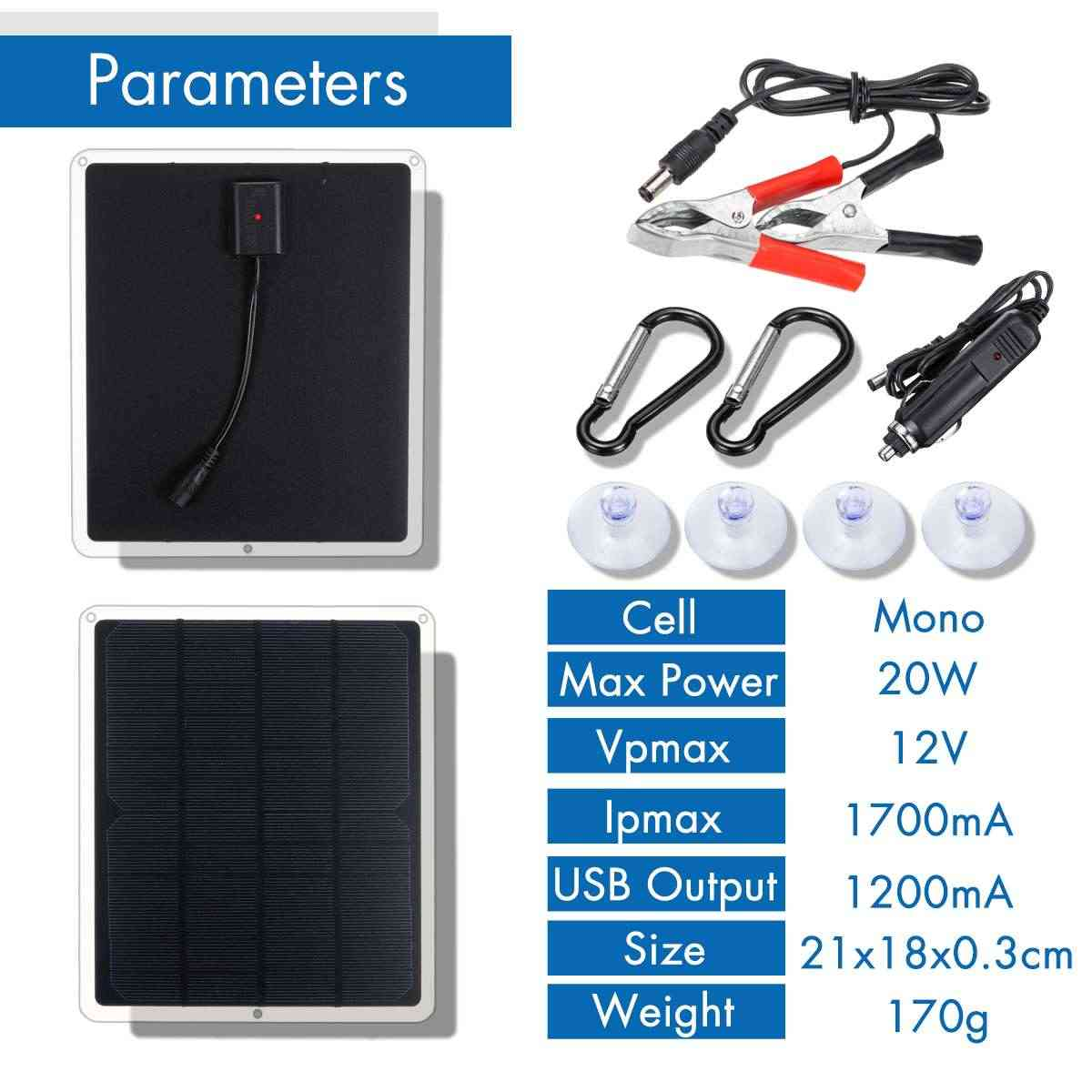 LEORY USB DC 12V 5V Solar Panel 20W Outdoor Portable Solar Cells Fast Soalr Charger For Battery Cell Phone Chargers