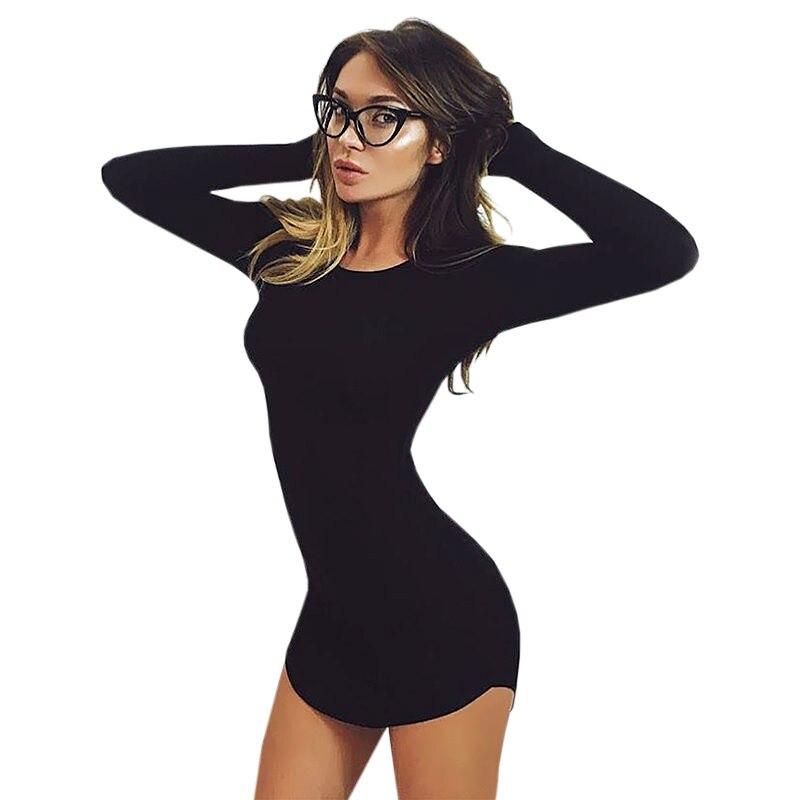 2018 Fashion Naiste kõrge kvaliteet pluss suurus S-2XL kevadel pikkade varrukatega ebakorrapärane, kerge keha, Mini Mini kleit Vestido Curto