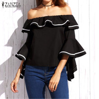 Sexy Slash Neck Off Shoulder Blouses 2017 Summer Shirts Casual Elegant 3 4 Sleeve Ruffles Blusas