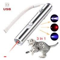 USB Aufladbare 3 In 1 Mini Red Laser Pointer Pen lazer Taschenlampe Lade UV Taschenlampe Jagd Laser Sighter Multifunktions Lampe