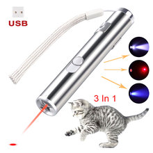 USB Rechargeable 3 In 1 Mini Red Laser Pointer lazer Pen Flashlight Charging UV Torch Hunting Sighter Multifunction Lamp