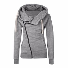 Новинка 2016 года Для женщин свитшоты Solid Цвет куртка с капюшоном с длинным рукавом Для женщин толстовка на молнии осень-зима Для женщин пальто