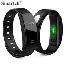 Smartch QS80 умный Браслет, крови Давление пульса монитор умный, Сенсорный экран, Silica ремешок, Мода Смарт Браслет