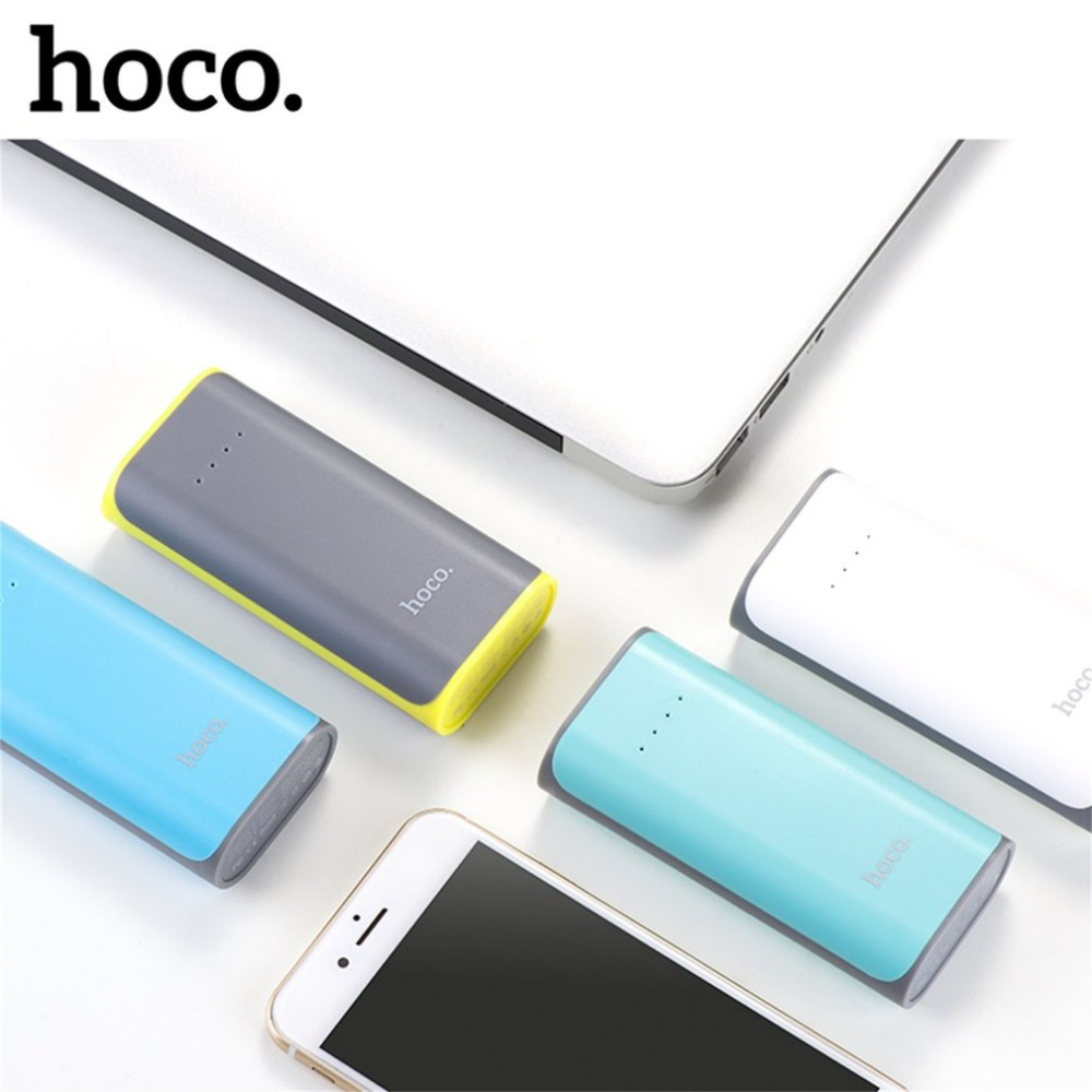 HOCO 5200mAh B21 18650 USB Tiny Concave Pattern Portable Mobile Phone External Battery Power Bank Charger Powerbank