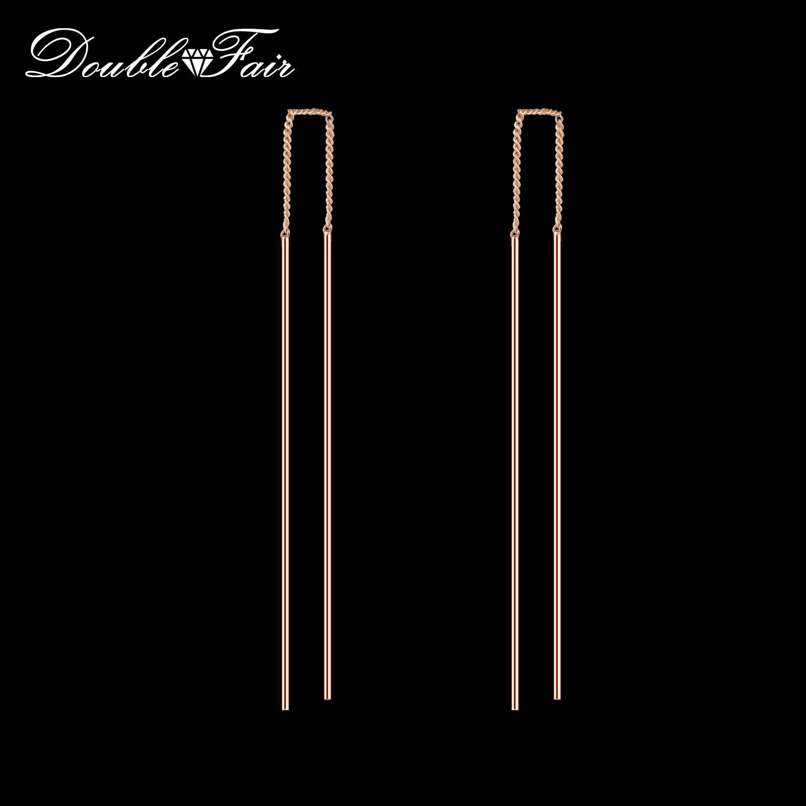 Double Fair Simple Strip Bar Long Chain Drop/Dangle Earrings Silver/Rose Gold Color Fashion Jewelry Earring For Women DFE789
