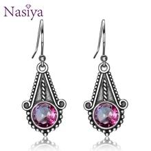 Nasiya New Ethnic Style Rainbow Mystic Topaz Gemstone For Women Drop Earrings Silver Jewelry Wedding Gift Fine