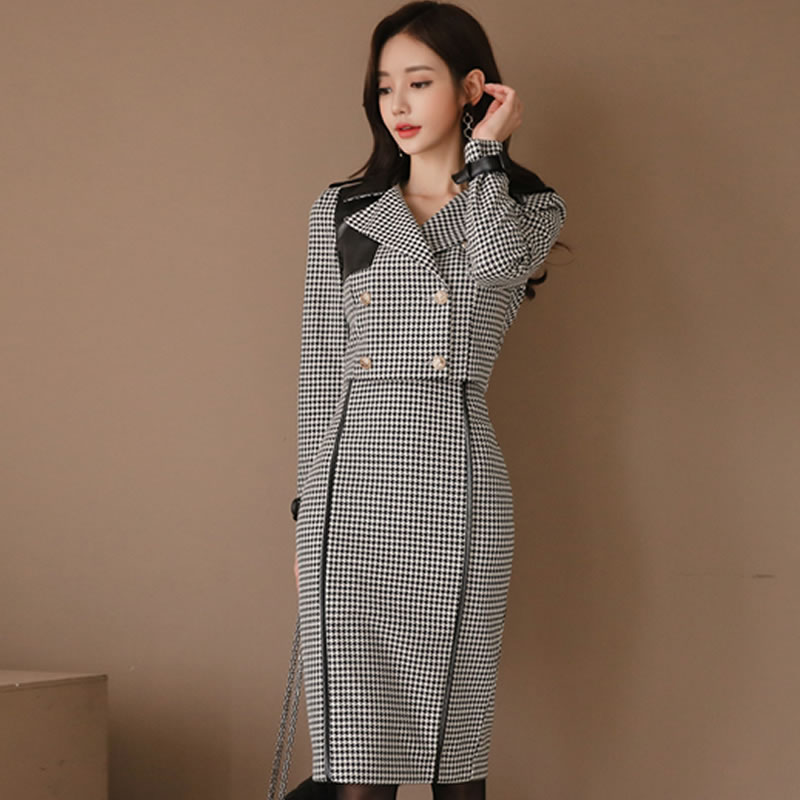 Women Professional Skirt Suits autumn fashion Double breasted Plaid suit Office Lady Sexy OL Blazers jacket&skirt 2 Piece set