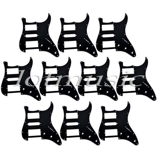 10 pièces noir pickguard guitare 3 plis 11 trous pour fender strat style remplacement