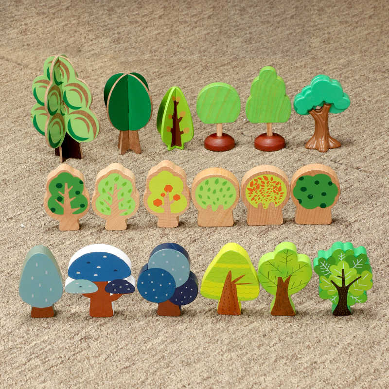 Wooden train track scene accessories tree forest tree spelling tree suitable for track train game children car toy