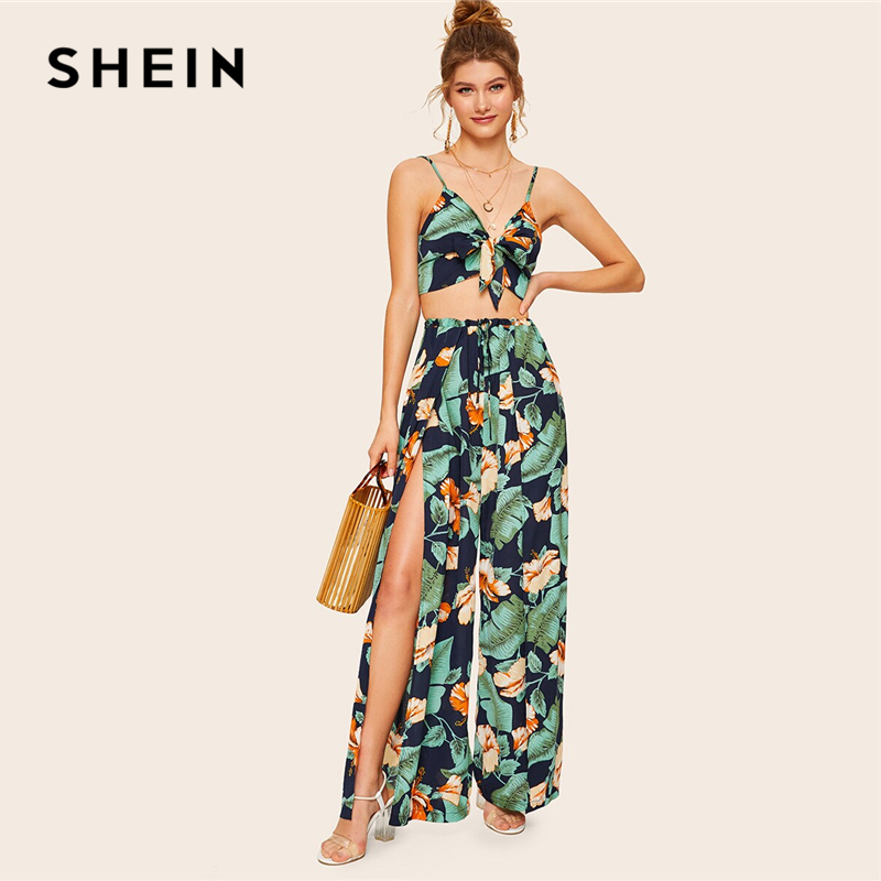 SHEIN Leg-Pants Wrap Cami-Crop-Top Vacation Two-Piece-Set Knot Tropical-Print Summer