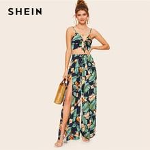 Шеин Бохо узел спереди Cami укороченный топ и обёрточная бумага Сплит широкие брюки женский комплект 2 шт. Лето Тропический Принт каникулы комплект из двух предметов