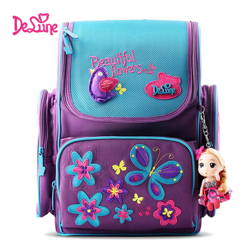 Delune Flower Butterfly Pattern School Bags for Girls Cartoon Children Orthopedic Backpacks Cartoon Mochila Infantil Grade