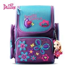 Delune Flower Butterfly Pattern School Bags for Girls Cartoon Children Orthopedic Backpacks Cartoon Mochila Infantil Grade 1-3