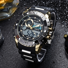 3ATM Waterproof New Brand Stryve Watches Men Cool Big dial Watches Women Double movement Analog Digital Military Watches Male cheap Digital Wristwatches Sport Alloy 25cm Buckle 3Bar Complete Calendar Stop Watch None Alarm 54 5mm 8001 No package Glass ROUND