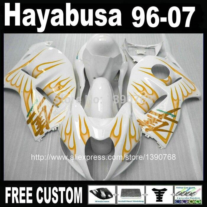 100% new fairing body kit for SUZUKI Hayabusa fairing kit GSX1300R 1996-2007 orange flames white bodywork fairings set GSX1300R bodywork for suzuki hayabusa fairings gsxr1300 1996 2007 blue black motorcycle fairing kit tank 99 07 cq65