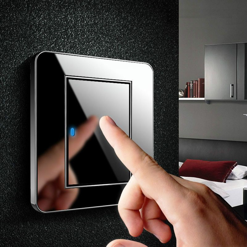 High Quality Any Point Click Wall Switch 1 Gang Single/Double Control Switch Acrylic Crystal Mirror Panel LED Indicator Light 2014 high quality new inventions crystal magic mirror lightbox led
