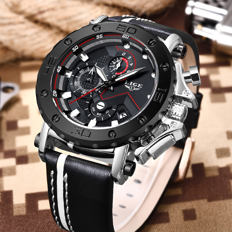 Image 3 - LIGE Creative Men Watch Top Brand Luxury Chronograph Quartz Watches Men Clock Male Leather Sport Army Military Wrist Watches+Box-in Quartz Watches from Watches
