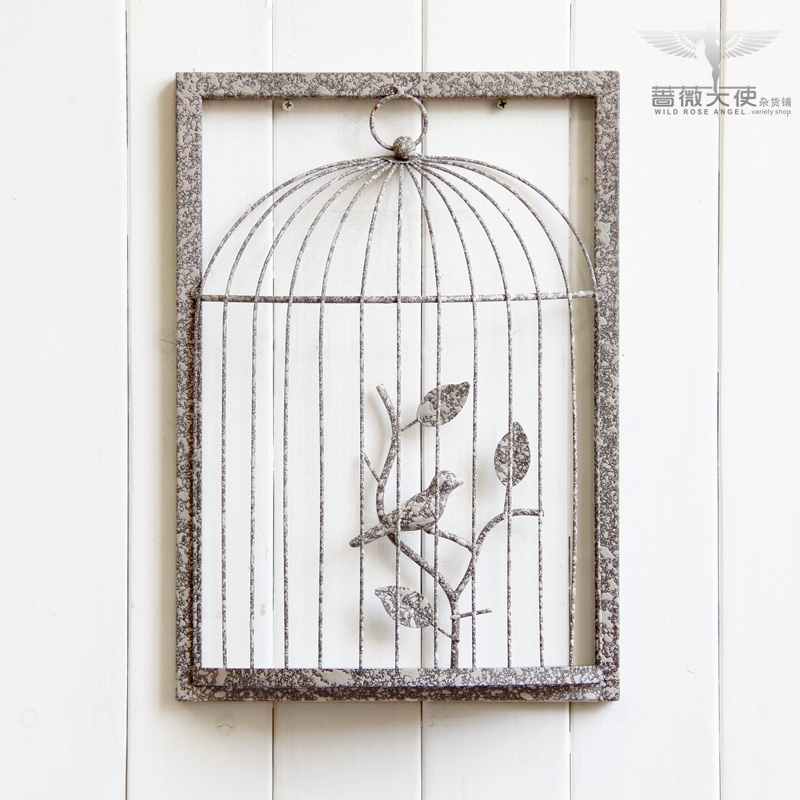 Free shipping French vintage wrought iron birdcage home wall decoration fashion personalized wall hangings 4